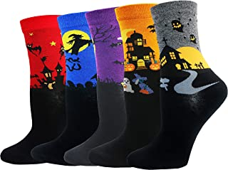 NWO051 - Calcetines unisex para Halloween, algodón, 5 pares