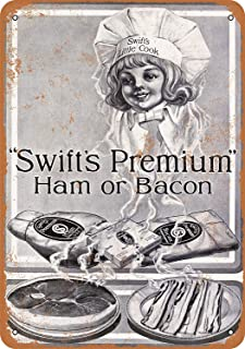 Baoku Metal Sign 1916 Swift's Premium Ham and Bacon 2 8x12 Inch Retro Decor Tin Signs Bar, Cafe, Art, House Wall Decoration