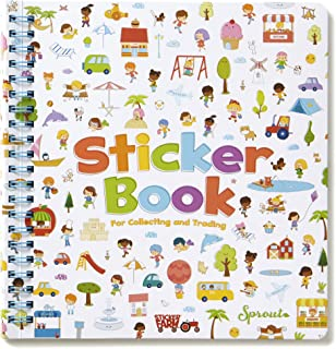 Sticker Farm Happy Day Series Travel-Size Reusable Sticker Book for Collecting Stickers, Small Starter Activity Sticker Album with 40 Reusable Puffy Stickers