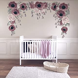 Floral Wall Sticker Decal Purple Girl Nursery Decor Easy Install Wall Mural