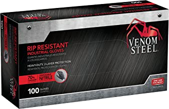 Venom Steel Nitrile Gloves, 6 mil Disposable Latex Free Black Gloves, 2 Layer Rip Resistant Gloves, One Size Fits Most (Pack of 100)