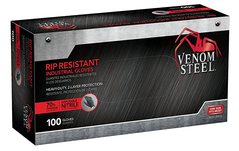 Venom Steel Nitrile Gloves, Rip Resistant Disposable Latex Free Black Gloves, 2 Layer Gloves, 6 mil Thick, One Size Fits Most (Pack of 100)