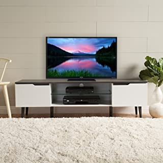 Christopher Knight Home 299075 Rowan TV Stand, White Matte + Grey