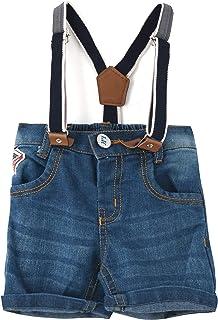 Little Kangaroos Baby Boy Denim Short With Suspender, Dark Blue - ROGS2019343A