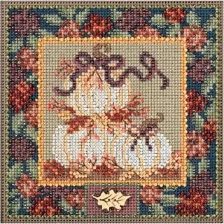 White Pumpkins Autumn Buttons & Beads Counted Cross Stitch K-5x5 14 Count