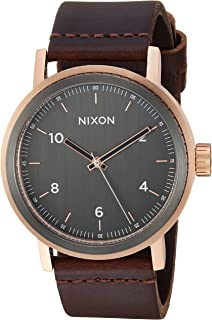 NIXON Stark Leather A1194-100m Water Resistant Men's Analog Classic Watch (42mm Watch Face, 22mm Leather Band)