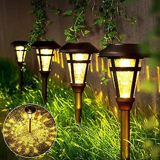 GIGALUMI Solar Pathway Lights Outdoor 6 Pack Super Bright High Lumen Solar Powered LED Garden Lights for Lawn Patio Yard