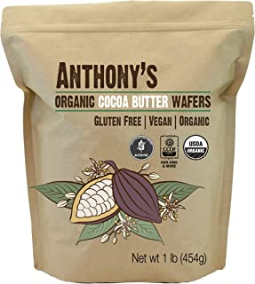 Organic Cocoa Butter Wafers (1lb) by Anthony's, Batch Tested Gluten-Free & Non-GMO