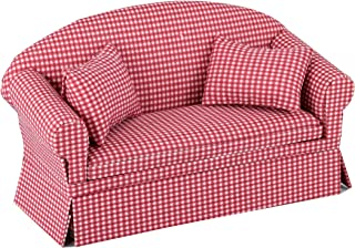 Inusitus Miniature Dollhouse Sofa - Dolls House Furniture Couch - 1/12 Scale (Red Check)