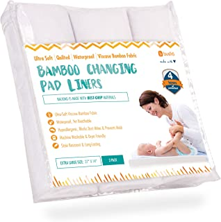 "Changing Pad Liners [3 Pack] - Waterproof, Ultra-Soft, Made of Cozy Bamboo Fabric - 4 Thick Layers - Washer/Dryer Friendly - Large 14"" x 27"" Surface for Best Protection"