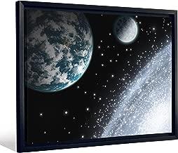 لوحة فنية جدارية مؤطرة JP London FCNV2152 بغلاف من القماش ثقيل الوزن (النجم والقمر من Swirling Star Galaxy مقاس 20. 375 بوصة ارتفاع × 26. 375 بوصة عرض × 1. سمك 25 بوصة)