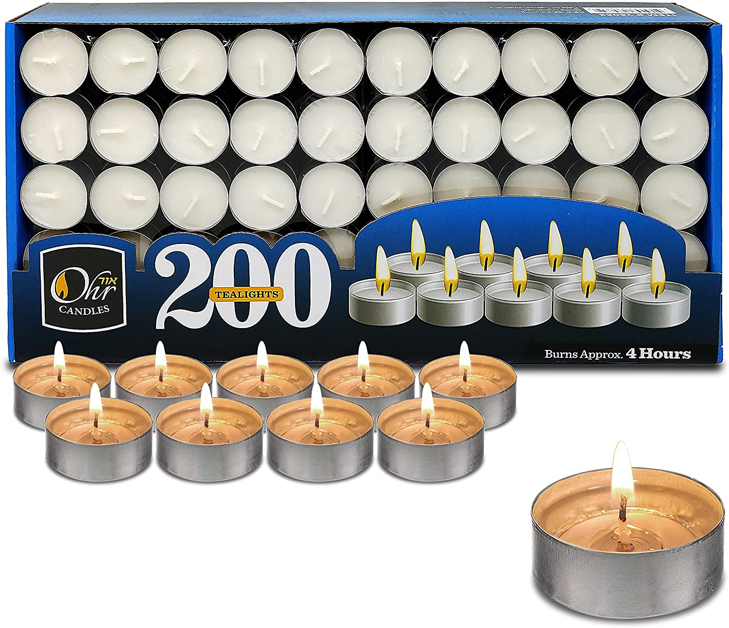 Ohr Tea lowest price Light Candles - 200 Unscented Travel High order White Bulk Pack