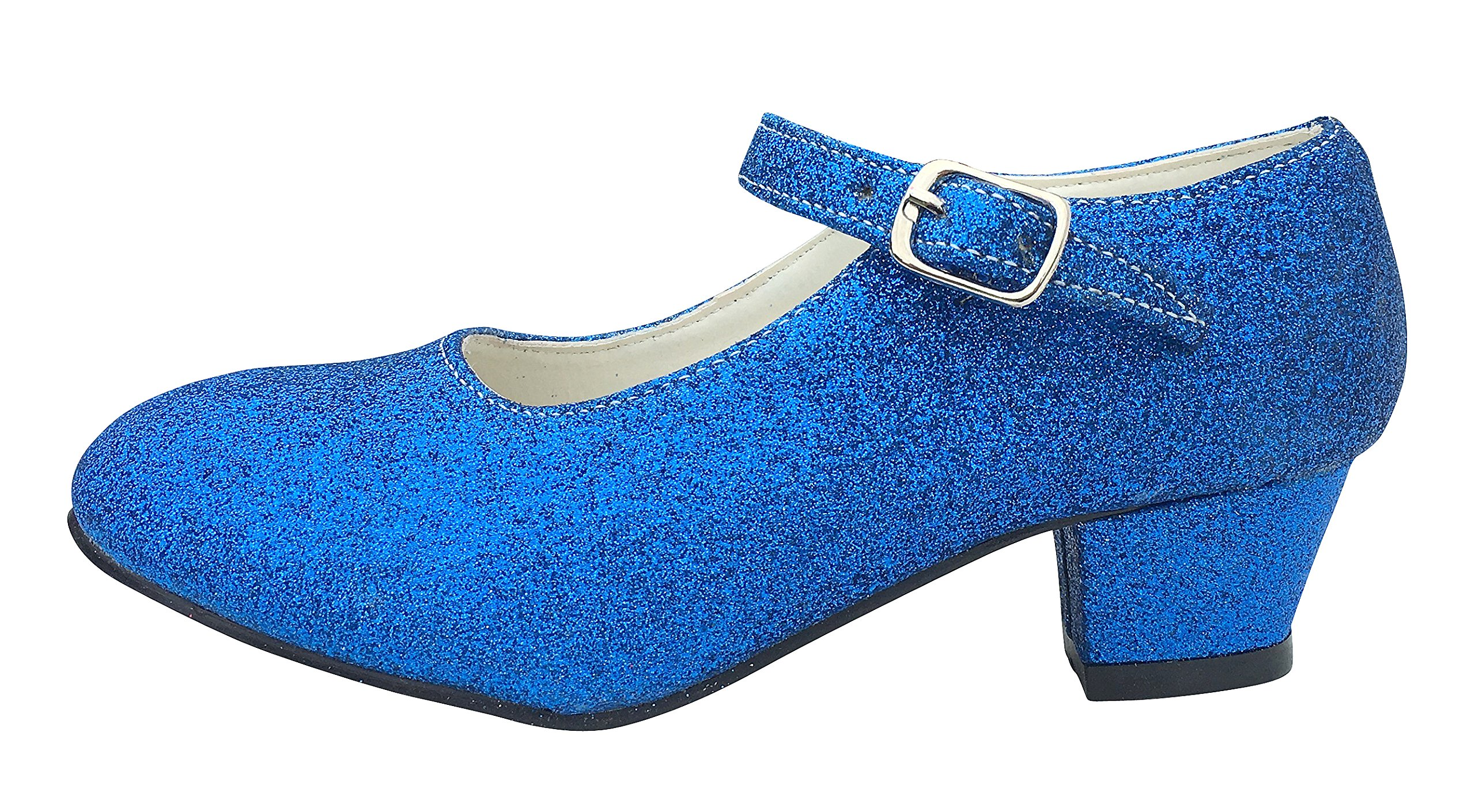 La Señorita Chaussures Flamenco Espagnol Princesse de Danse - Bleu Scintillement (Taille 30 - 19 cm)