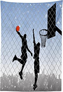 Lunarable Sports Tapestry, Basketball in The Street Theme 2 Players on Grungy Damaged Backdrop, Fabric Wall Hanging Decor for Bedroom Living Room Dorm, 30