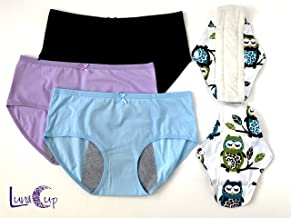 Luna Cup Period Menstrual Panties, Set of 3, and 2 Washable Cloth Menstruation Pads for Women Girls (3 M/L Panties, 2 Pads)