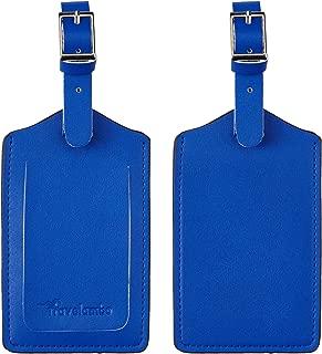 Travelambo Leather Luggage Bag Tags (Blue 6092 Fresh Blue)