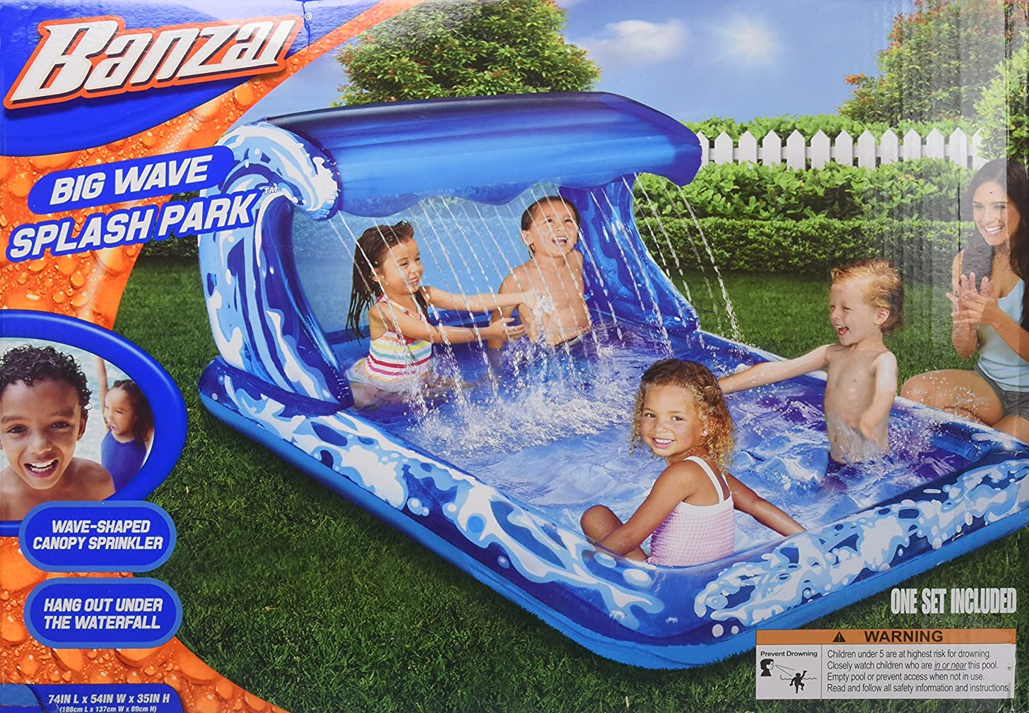 BANZAI Big Wave Splash Park Inflatible Splash Pool
