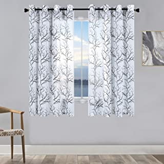 KEQIAOSUOCAI Faux Linen Semi Sheer Curtains 45 Inch Length White and Black Tree Branch Embroidered Grommet Window Drapes 52x45 Privacy Voile Curtains 2 Panels for Living Room Bedroom