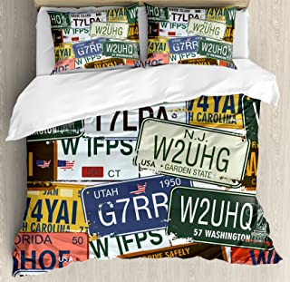 Ambesonne Vintage Duvet Cover Set, Original Retro Style License Plates Personalized Creative Travel Vacation, Decorative 3 Piece Bedding Set with 2 Pillow Shams, Queen Size, Green Blue Yellow