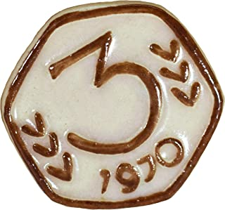Via Kerala Handmade Ceramic Vintage 3 Pasia Coin (Cream) 1 Piece