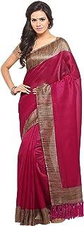 Rajnandini Magenta Tussar Silk Plain Traditional Saree For Women