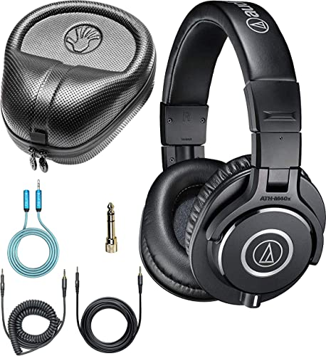wholesale Audio Technica ATH-M40x Professional Studio Monitor lowest Dynamic Headphones Bundle with Blucoil 6-FT Headphone Extension Cable (3.5mm), and Slappa Full-Sized HardBody Pro Headphone new arrival Case sale