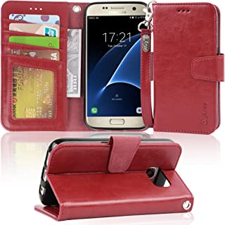 Arae Case Compatible for Samsung Galaxy s7, [Wrist Strap] Flip Folio [Kickstand Feature] PU Leather Wallet case with ID&Credit Card Pockets (Not for S7 Edge) (WineRed)