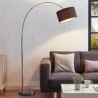 Lampadaire 'Kelja' (Moderne) en Argent en Textile e. a. pour Salon & Salle à manger (1 lampe,à E27, A++) de Lindby | Lampa...