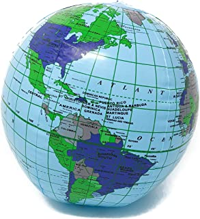 "Podzly Inflatable World Globe – 11"" Earth Beach Ball Party Supplies (1 Dozen) - Bulk"