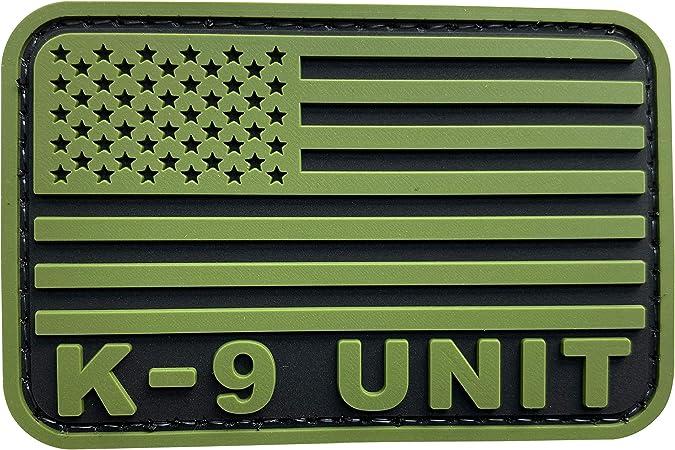 K-9 UNIT EMBROIDERY PATCH 4X10/'/' hook ON BACK OD green