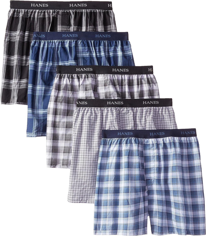 Sz XL MSRP $43.00 Men/'s 5 Pack Multi Details about  /NWT Hanes Ultimate Plaid Cotton Boxer