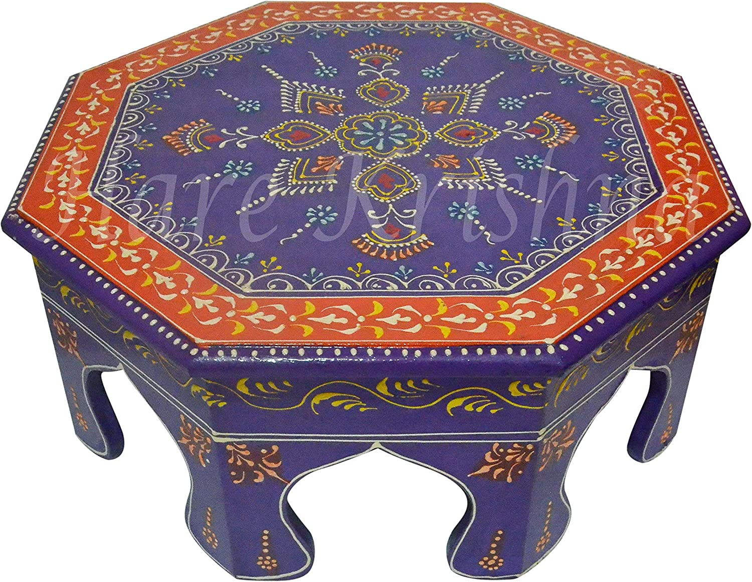 Home Decorative Corner Mini Stool Living Room Designer Side End Low Table (Purple) 14 x 14 x 6 Inches