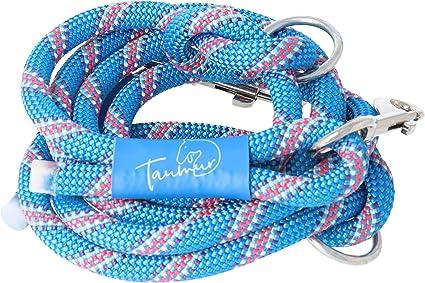 Dagrenning - Correa para perros de dos vías ajustable de cuerda de escalada estable, azul/multicolor, para perros grandes