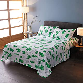 LAMEJOR Bed Sheet Set Queen Size Cactus Pattern 4 Piece - 1 Flat Sheet, 1 Fitted Sheet, 2 Pillowcases, Hotel Luxury Bed Sheets, Deep Pockets, Easy Fit