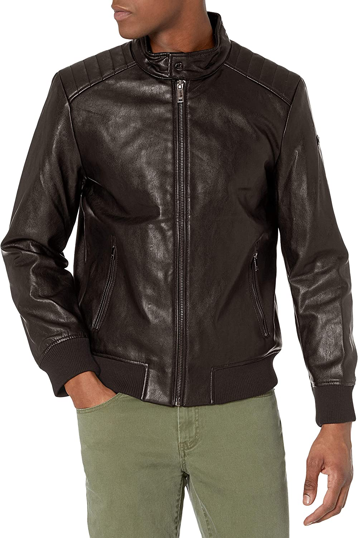 DKNY Men's Washington Mall Darren Faux Bomber Jacket Racer Leather overseas