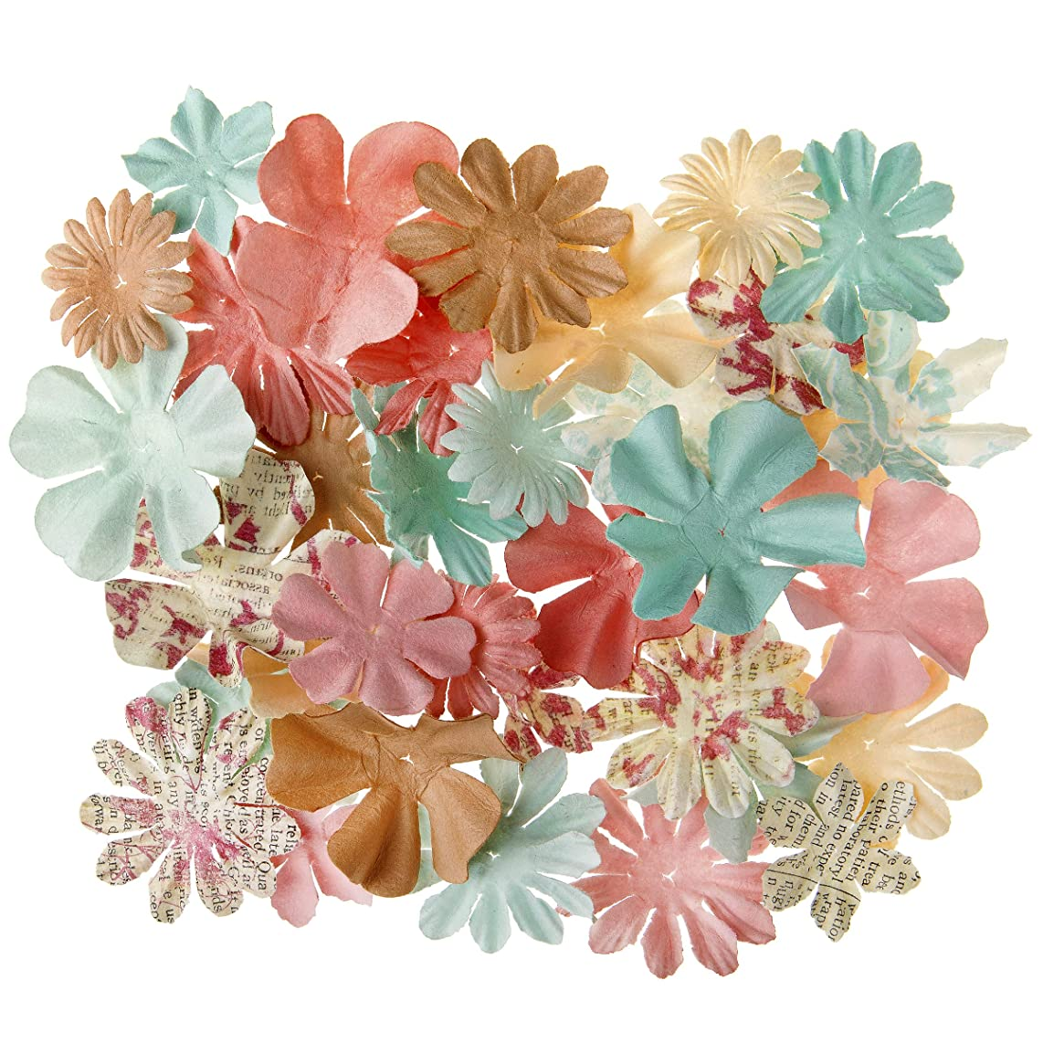 Darice 30061982 Shabby Chic Floral Embellishments: 2 inches, 65 Pack, Assorted