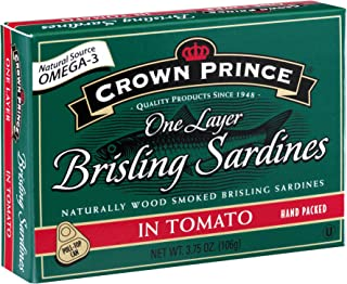 Crown Prince One Layer Brisling Sardines in Tomato, 3.75-Ounce Cans (Pack of 12)