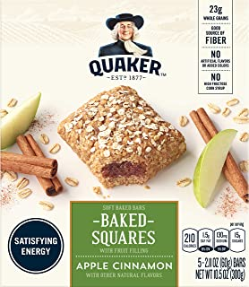 Quaker Baked Squares, Soft Baked Bars, Apple Cinnamon, 5 Count, Pack of 4