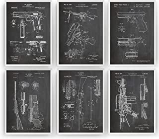 Gun Patent Prints - Set Of 6 - M16-1911 - Shotgun - Bolt Gun - AR 15 - Glock - Gift Merchandise Poster Vintage Old Original Rifle Firearms Collector Owner Wall Decor - Frame Not Included
