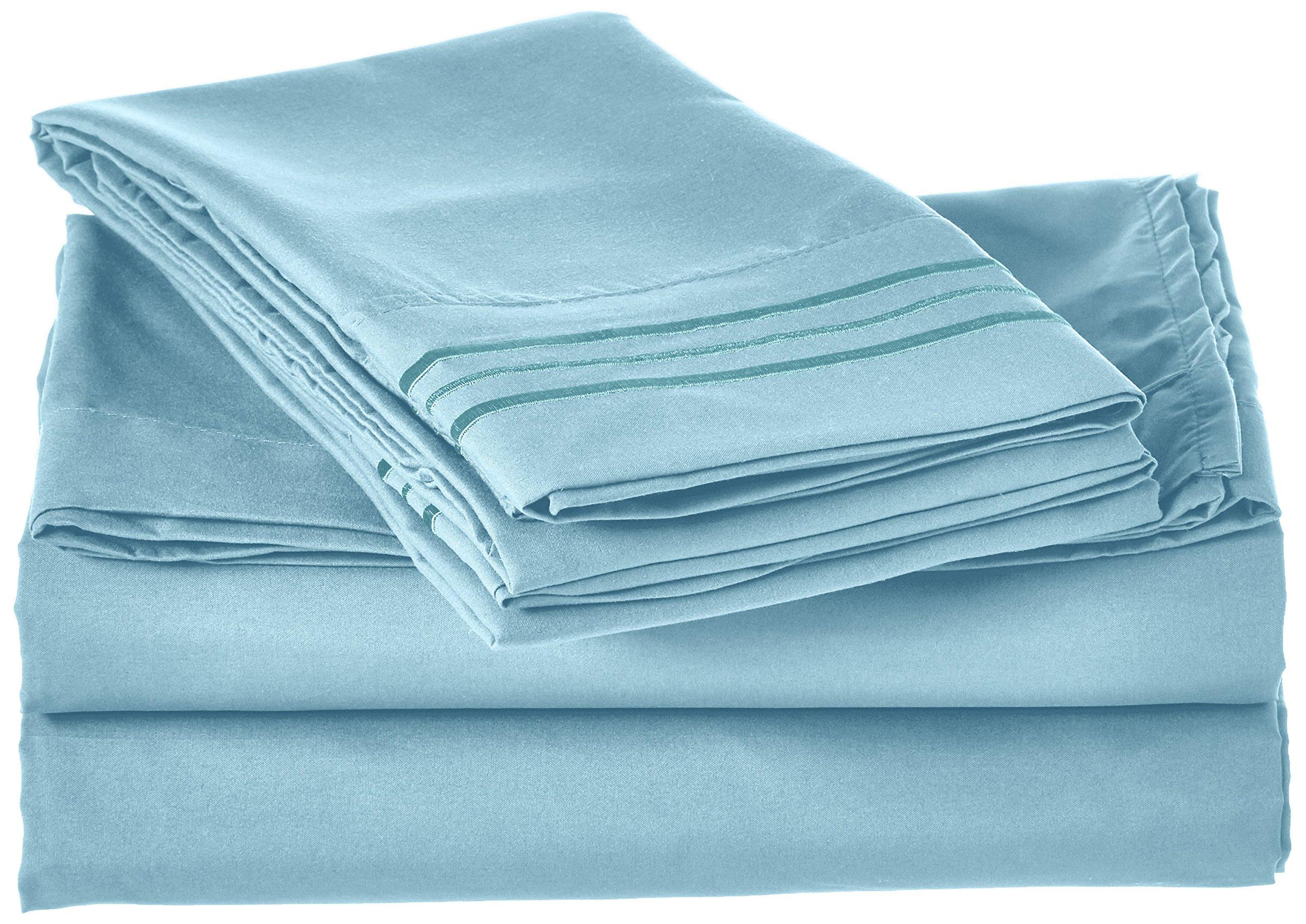 Elegant Comfort 4 件套床单床上用品! 奢华柔软 1500 支埃及品质无皱套深口袋,22 种颜色可选,单人床,普通双人床,大号双人床,加州大号双人床,加州大号双人床 水绿色 Queen 135RW 1500-Queen-Aqua