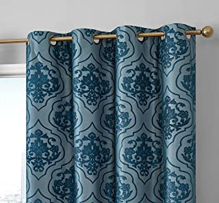 HLC.ME Damask Flocked 100% Complete Blackout Thermal Insulated Window Curtain Grommet Panels - Energy Savings & Soundproof - Great for Living Room & Bedroom, Set of 2 (50 x 84 inches Long, Teal Blue)