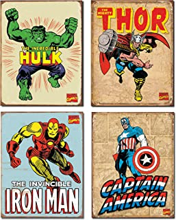Vintage Superhero Tin Sign Bundle - The Incredible Hulk, Thor, Iron Man and Captain America.