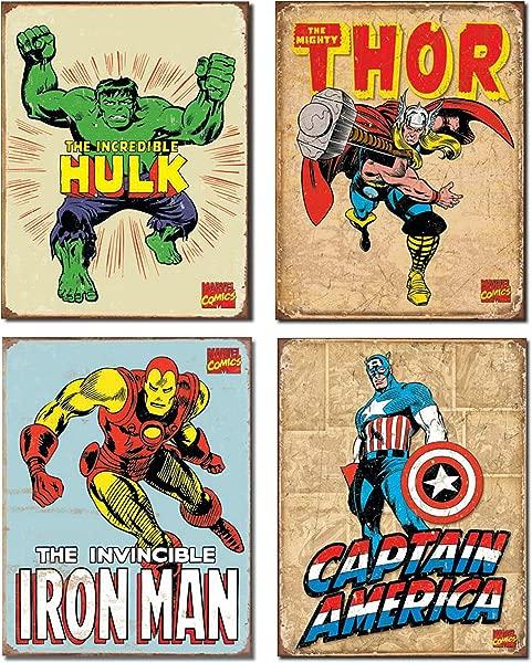 Vintage Superhero Tin Sign Bundle The Incredible Hulk Thor Iron Man And Captain America