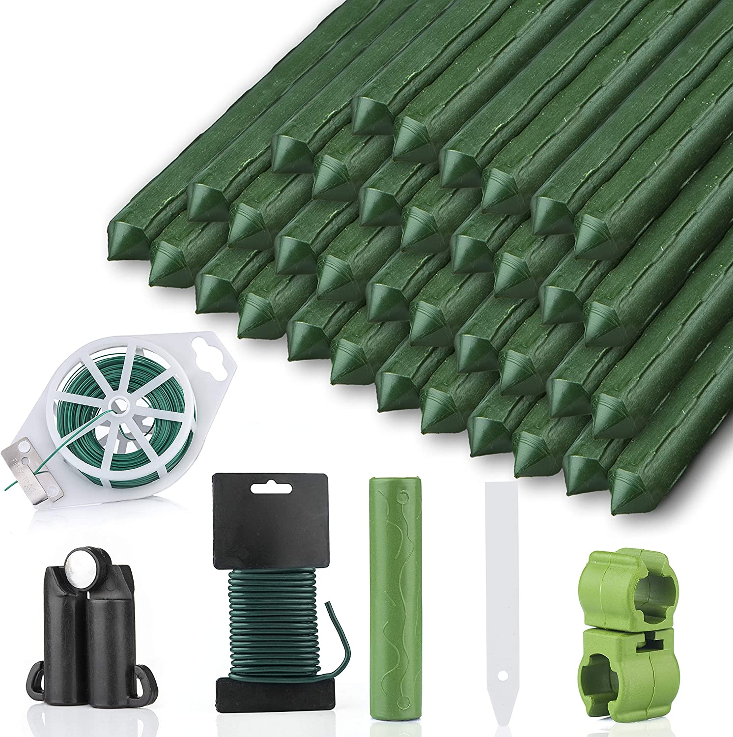 Ampio Home Garden Stakes Kit - 60 Inch (5FT) Pack of 25- Sturdy Metal Plant Stake - Green Plastic Coated Steel Stick Plant Support - Tomato, Beans, Trees, Roses, Cucumbers