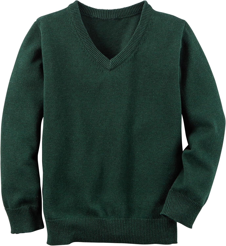 Carter's Boys' V-Neck Sweater, Dark Green, 6
