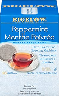 Bigelow Peppermint Herbal Tea Pods 16-Count Box (Pack of 1) Caffeine-Free Bagged Herbal Tea, Contains Peppermint Leaves, I...