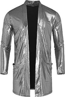 COOFANDY Men's Sequin Metallic Shiny Cardigan Disco Party Nightclub Pockets Cape