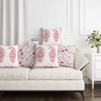 BLOCKS OF INDIA Cotton 250TC Cushion Cover, 16 x 16 Inches, Pink
