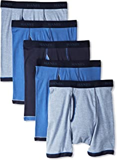Hanes Men's 5-Pack Ultimate Exposed Waistband Ringer Boxer with ComfortFlex Waistband Brief-Assorted Colors, Medium