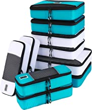 PRO Packing Cubes for Travel | Luggage Organizer Bags | Premium Quality Travel Cubes for Packing Suitcase, Carry-on, Bags and Backpack | Deluxe 10 Piece Set - Aqua-White